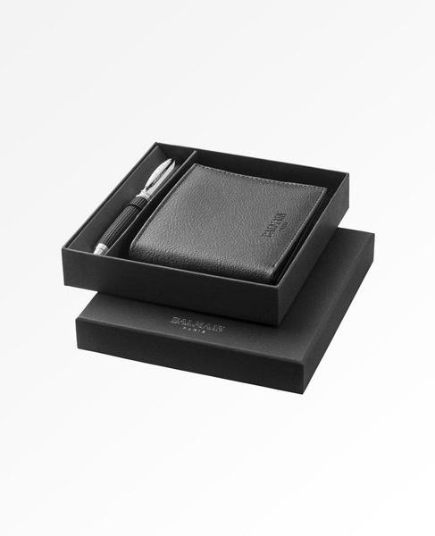 big discount new lifestyle coupon code Balmain Ballpoint Pen, Wallet & Keychain Gift Set   Easy Media